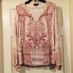 Hale Bob Beaded Silk Long Sleeve Tunic Size L
